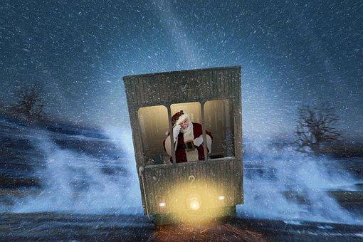 Santa Claus, Nicholas, Train, Sitting On A Train, Hurry