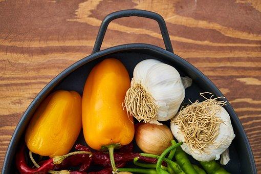 Vegetable, Pepper, Yellow, Garlic, White, Onion, Macro
