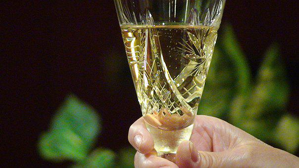 Champagne, Glass, Hand, Alcohol