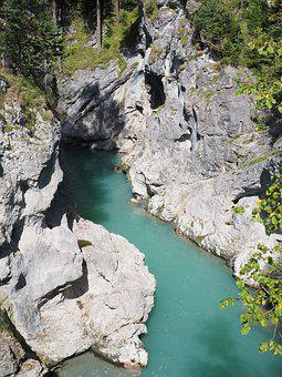Lech, River, Water, Clammy, Füssen, Canyon, Gorge