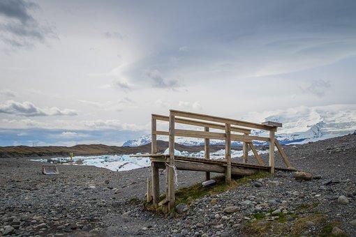 Iceland, Ice, Wooden Frame, Observation Deck, Nature