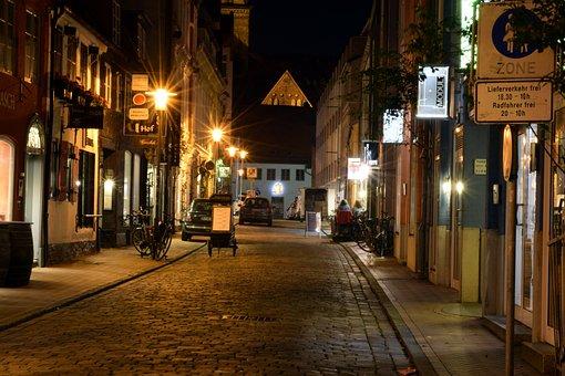 City, Flensburg, Night Photograph, Illuminated