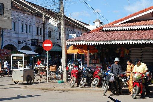 Siam, Reap, Cambodia, Street, No Entry, Motorbikes