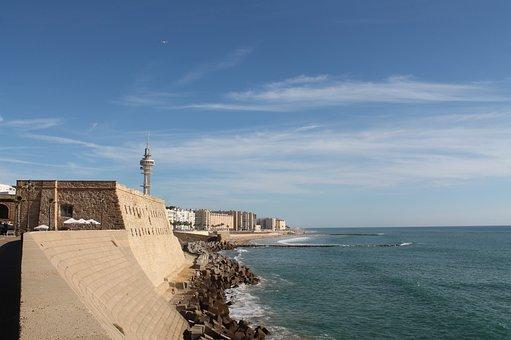 Cadiz, Ocean, Fortress, Quay Wall
