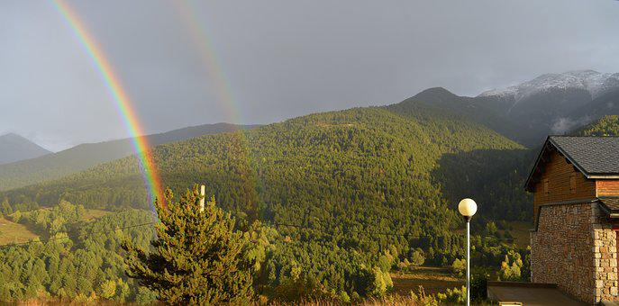 Rainbow, Mountain, Nature, Sky, Trees, France, View
