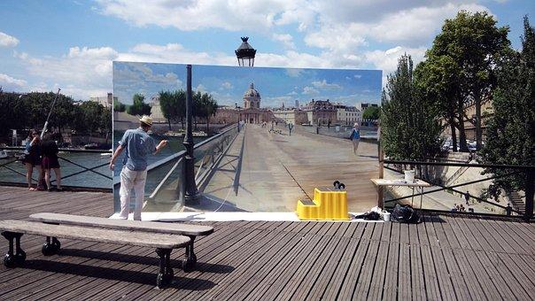 Painter, The Framework, Seine, Bridge, Paris