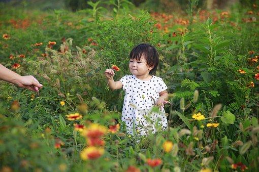 Kids, Flower, Summer, Cute, Girls, Picnic, Green, Happy