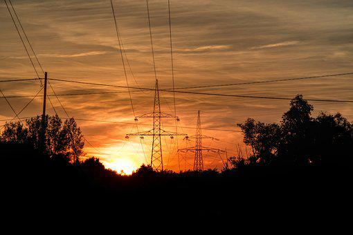Sunset, Power Lines, Electricity, The Sun
