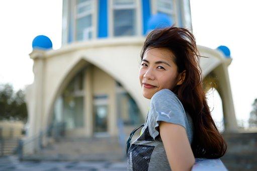 Travel, Asian Women, Wind Blowing