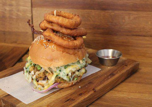 Food, Burger, Onion Rings, Vegetables, Healthy