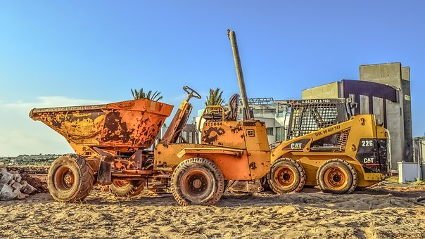 Construction Site, Machinery, Vehicles, Yellow