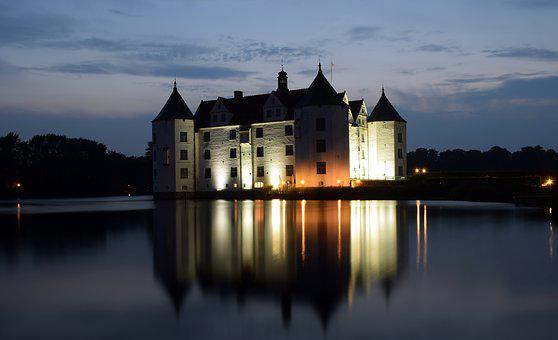 Moated Castle, Water, Glücksburg, Architecture