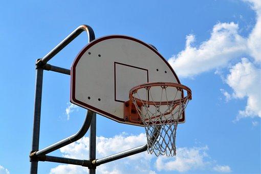 Basketball Court, Hoop, Backboard, Net, Sky, Background