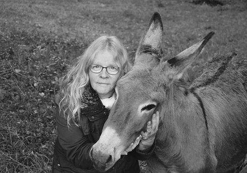 Donkey, Woman, Complicity, Photo Black White