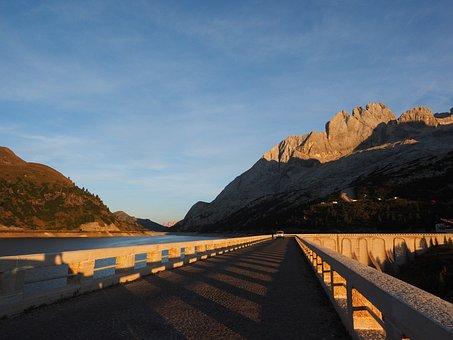 Fedaia Lake, Road, Dam System, Fedaiapass, Dolomites