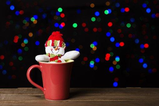 Christmas, Snowman, Lights, Santa Claus, Snow, December