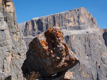 Boulder, Rock, Fouling, Lichen, Lichen Growth, Orange