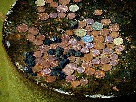Coins, Fountain, Lucky Charm, Metal, Fountain City