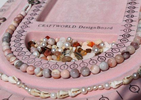 Art, Craft, Beads, Necklace, Agate, Carnelian, Shell