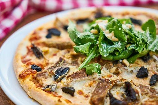 Pizza, Meat, Dough, Greens, Olives, Sausage, Salam, Ham