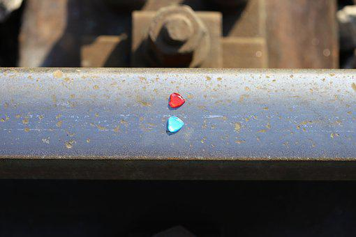 Red And Blue Heart On Railway