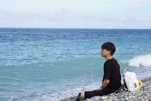 Ocean, Water, Blue, Rock, Summer, Sea, People, Girl