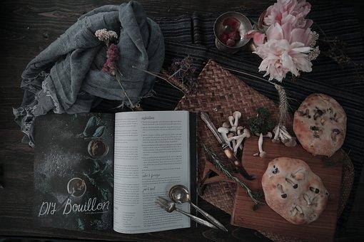 Retro, Book, Magazine, Bread, Food, Still Life