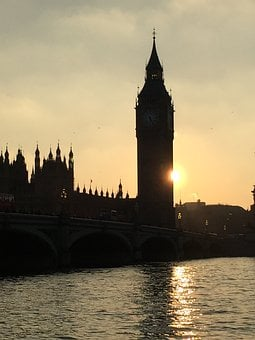 Big Ben, Sunset, Setting Sun, Tower, Thames, Sun
