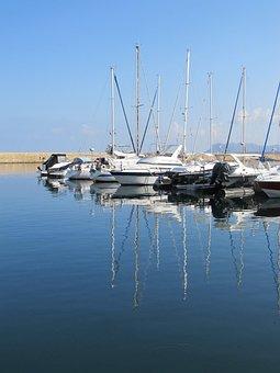 Boats, Crete, Greece, Sea, Island, Travel, Water, Bay