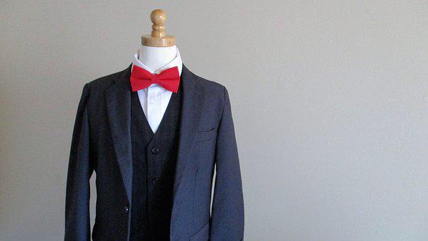Red Bow Tie, Blue Suit, Bowtie, Formal, Business