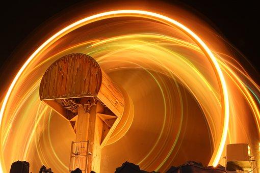Children Ferris Wheel, Light Gyro, Long Exposure