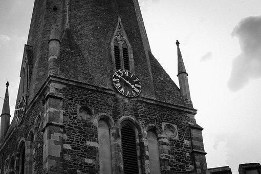 Church, Ominous, Black And White, Clock Face