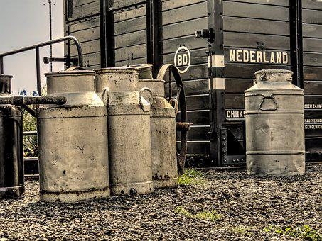 Churns, Milk Churn, Platform, Wagon, Milk