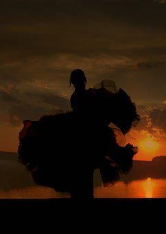 Dancer, Dress, Sunset, Sky, Cloud, Red, Water