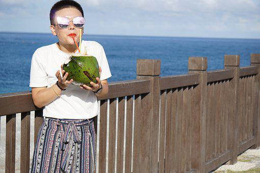 Coconut, Drinking, Beach, Thirsty, Happy, Satisfied