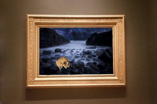 Frame, Art, Gallery, Skull, End, Rock, Sea, Fog, Design