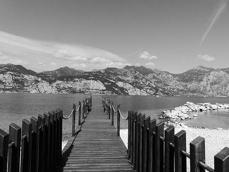 Web, Lake, Jetty, Boardwalk, Waters, Garda