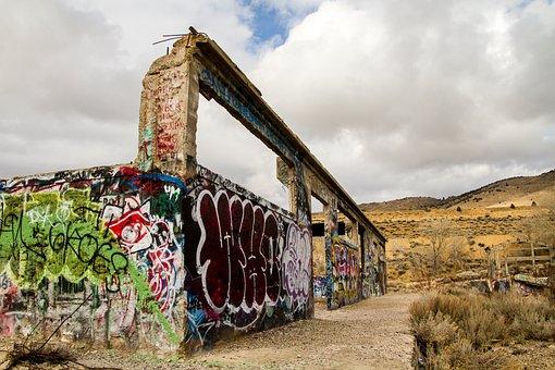 Graffiti, Ruin, Old, Building, Architecture, Abandoned