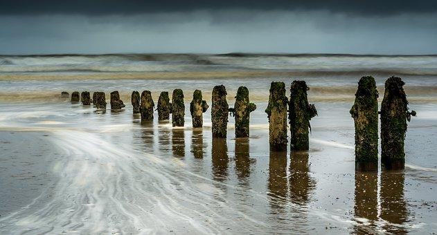 Groynes, Wave Breaks, Seascape, Sandsend, Beach, Coast