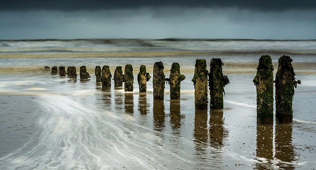 Groynes, Wave Breaks, Seascape, Sandsend, Beach, Coast