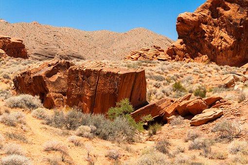 Desert, Rocks, Red, Landscape, Drought, Dirt, Terrain