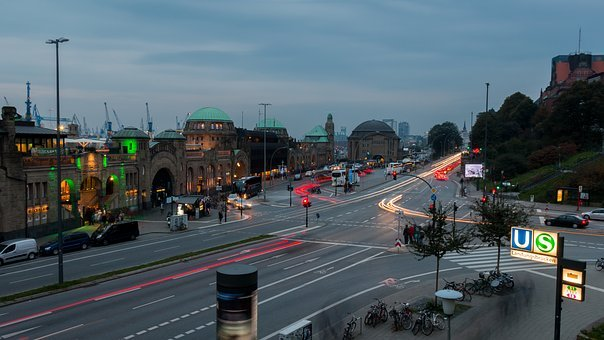 Hamburg, Landungsbrücken, Lights, Evening, Port