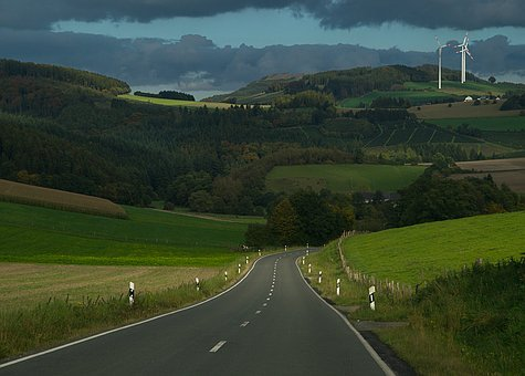 Road, Mountains, Hill, Delineator Posts, Field, Arable