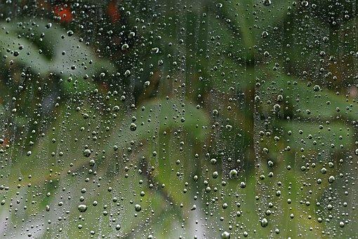 Rain, Raindrops, Windowpane, Window, Droplets, Liquid