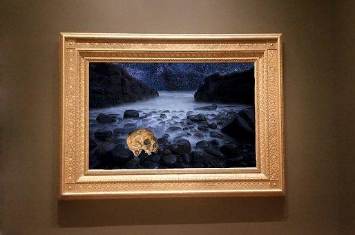 Frame, Art, Gallery, Skull, End, Rock, Sea, Fog, Design