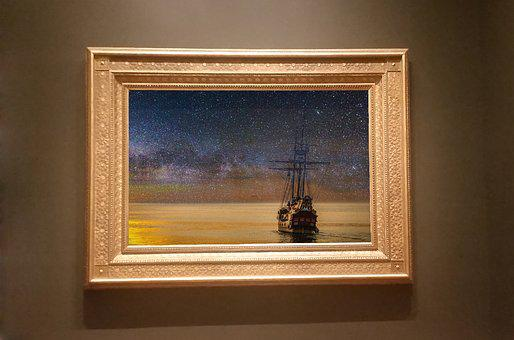 Frame, Art, Gallery, Ship, Sea, Sunset, Design, Pattern