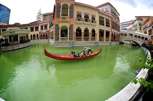 Venice, Taguig, Philippines, Restaurant, River, Green