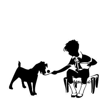 Silhouette, Vintage, Boy, Dog, Feed, Feeding, Victorian