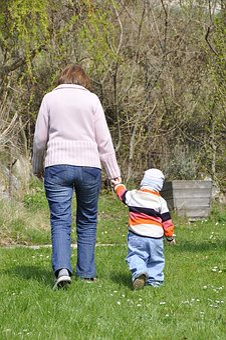 Grandma, Child, Go, Walk