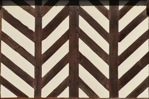 Wall, Timber, Chevron, Normandy, Norman, France, Stud